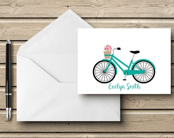 Personalized - BICYCLE  - Note Card - Personalized Stationery - Stationery Set - Wedding Stationery - Engagement Announcement - Bike