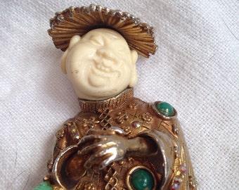 Signed Har Laughing Buddha Brooch