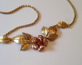 Krementz 14K Gold Overlay Necklace with Roses
