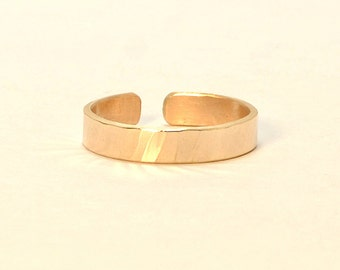 14k Solid Yellow Gold Hammered Toe Ring - Solid 14k Gold - TR348