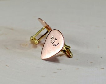 Copper monogram guitar pick cuff links for you to personalize - CL304