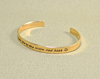 I love you to the moon and back bronze cuff bracelet with mirror finish for love and 8th anniversaries - BR955