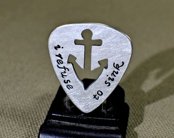 aluminum guitar pick with anchor cut out - GP330