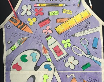 Hand Painted Art Apron for all ages. Personalized Art Smock. Machine washable. Two pockets. Art Apron. Cooking Apron. Gardening Apron.