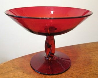 vintage BLENKO glass 1950s ruby twist comport  #4448