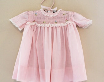 Vintage 1960s Nanette Pink Baby's Dress with Floral Smocking and Lace Trim