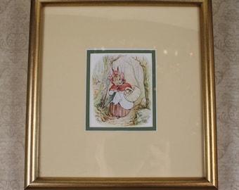 Gold Framed Vintage Beatrix Potter Old Mrs. Rabbit Children's Print
