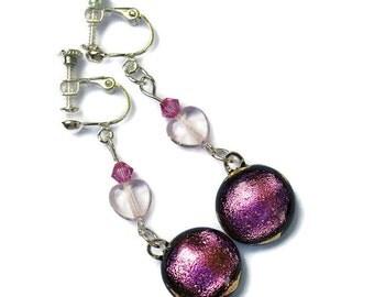 Dichroic Dangle Earrings, Clip On Screw Back Earrings, Non Pierced Earrings, Pink Earrings, Fused Glass Earrings, Pink