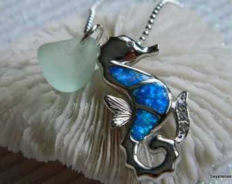 Fire Opal Sterling Silver Sea Horse Soft Blue Sea Glass by Seyshelles