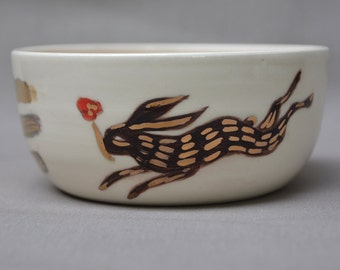 Rabbit and Wolf with Poppies handmade hand painted gold ceramic art bowl