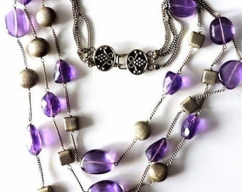 CIJ Christmas July SALE Stunning Modernest Mid Century Amethyst Sterling Silver Vintage Bib Festoon Necklace