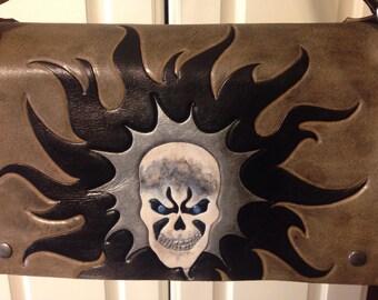 Hand Tooled Flaming Skull cross body messenger bag, War Boy Bag, Skull Flaming Sun Messenger Bag, Wasteland Bag