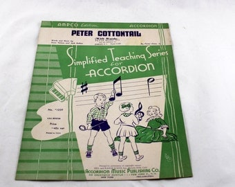 Peter Cottontail. Vintage Sheet Music. 1950. Simplified Teaching Series for Accordion. Ampco Edition. Accordian Music.