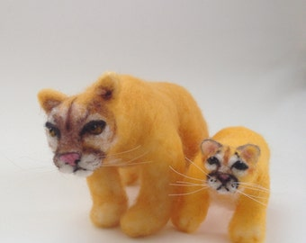 Mountain Lion Mother and Cub Cougar Felt Soft Sculpture Needle Felted Collectible Fiber Art Felting Gift for Boy