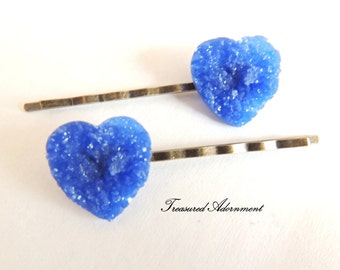 Blue Druzy Heart Bobby pins, Vintage Style Hair pins set of 2, Wedding, Something Blue Hair Accessories, Thank you gift, Valentines day gift