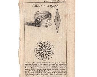 18thC COMPASS ROSE ENGRAVING original antique sea life ocean print - sea compass