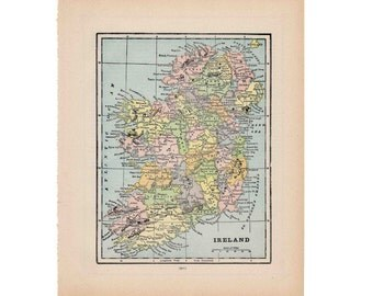 1910 ireland map original antique lithograph print
