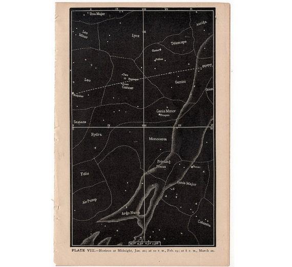 1884 horizon at midnight original antique celestial astronomy print - plate VIII - showing stars constellation orion cancer lynx leo gemini