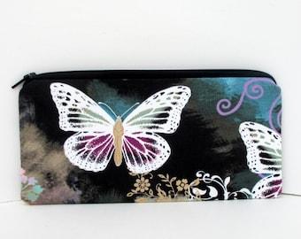 Butterfly Swirl, Long Zippered Pencil Pouch, Michael Miller Fabric