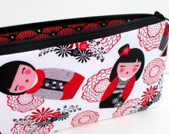 Long Zipper Pencil Pouch, Japanese Tokidoki Geisha Dolls, Red and White