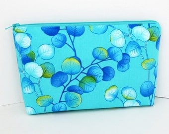 Make Up Bag, Cosmetic Zipper Pouch, By The Sea Leaves in Aquamarine
