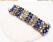 SALE Sapphire and Crystal Bracelet - Bling - Statement Bracelet - Double Strand - Crystal Jewelry - Womens Jewelry - Handmade - OOAK