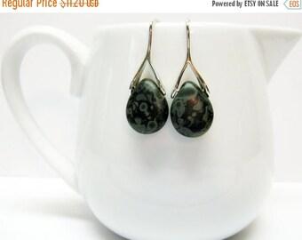 CIJ SALE Sale Matte Black Picasso Czech Glass Earrings - Small Earrings - Czech Glass Jewelry - Teardrop Earrings - Black Earrings - Fashion