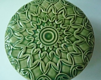 Mossy Green Lidded Jar  Light Green Star Jewelry Box Ornate Hand  Carved Design