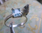Princess Bride engagement ring handmade Mini medieval castle Sterling Silver 2 Ct Aquamarine small story Lost wax cast handmade fairytale