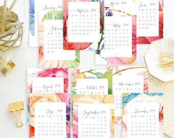 Instant. 5x7 2016 Watercolor Floral Printable Desk Calendar.  Instant Download.