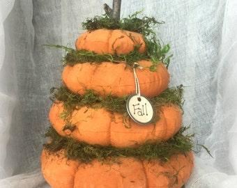 Stack of Pumpkins  | Autumn Decor | Stacked Prim Pumpkins  | Thanksgiving Pumpkin Stack | farmhouse decor | Country Rustic Pumpkin