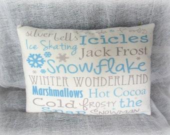 Winter pillow   Winter verse   Snowflake   PIllow Tuck   Subway Art Pillow   Blue graphic   Snowflake PIllow   Winter fun   Winter decor