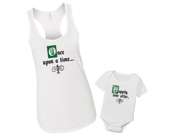 Once Upon A Time & Happily Ever After - Mommy and Me Baby Matching Fairytale Shirt Set