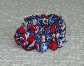 "Stars and Dots Patriotic Dog Scrunchie Collar with satin star rose - Size XS: 10"" to 12"" neck"