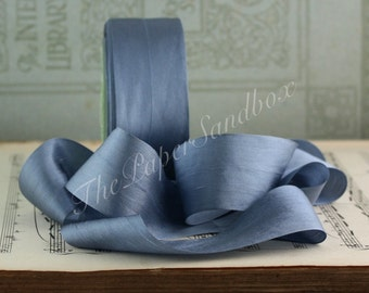 "Dusty Blue Silk Ribbon, Pantone Serenity Blue Silk Ribbon, 1.25"" wide by theyard, Slate Blue Ribbon, Slate Blue Silk,  Blue Gray Silk"