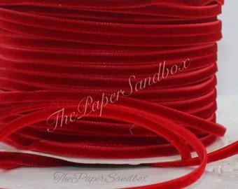 "Red Velvet Ribbon 1/8"" wide Ribbon by the yard, Christmas Ribbon, Gift Wrapping, Red Velvet Trim, Invitations, Christmas, Valentine"
