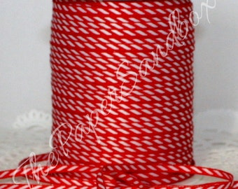 """Narrow Red/White Ribbon, 2 yards, 1/8"""" wide, Red/White Trim, Christmas Ribbon, Gift Wrapping, Scrapbooking, Crafts, Sewing, Party Supplies"""