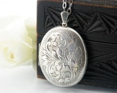 Sterling Silver Vintage Locket Necklace | Large Engraved Oval Locket | Love Token | 1972 English Hallmarked Silver - 34 Inch Long Chain