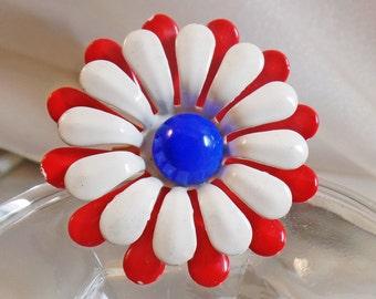 Vintage Red White Blue Flower Brooch.   Mod Flower Power Pin.