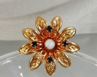 FALL SALE Vintage Flower Brooch. Moonstone. Garnet Red Rhinestones.