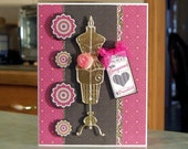 "Handmade 3-D Birthday Card - 6 1/2"" x 5"" - Antiqued Gold Dress Form - Silk Roses - Price Tag Size Gorgeous - Hot Pink and Black"