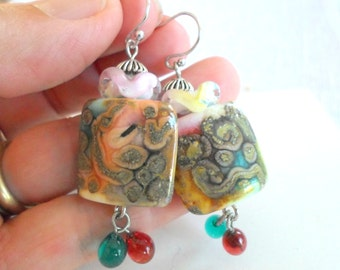 Lampwork Earrings, Handmade Glass Earrings, Handmade Supplies, OOAK artisan pair of Earrings, Colorful Festive Earrings Gift for Her