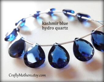 AAA KASHMIR Blue Hydro Quartz Faceted Heart Cut Stone Briolettes Trio, (1) Matched Pair plus (1) Focal, 12mm x 14mm, sapphire blue