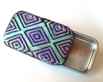 Sophisticated Metal Pill Box Teal Blue and Violet Diamond Zig Zag Pattern Purse Accessory Slide Top Tin Pocket Pill Case FREE Gift Pouch