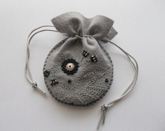 Jewelry Pouch Beaded Grey Felt Gift Bag Hand Embroidered Handsewn One of a Kind