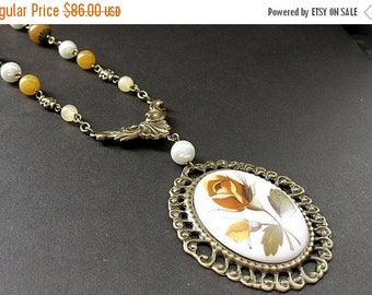 BACK to SCHOOL SALE Yellow Rose Necklace. Rose Cameo Necklace. Autumn Jade Necklace. Beaded Necklace. Bronze Necklace. Gemstone Necklace. Ha