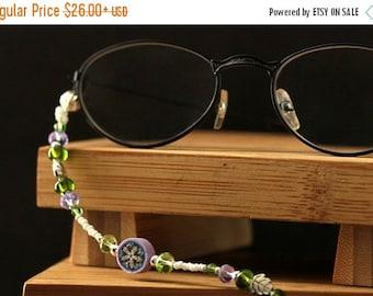 HALLOWEEN SALE Irish Thistle Glasses Necklace. Purple Eyeglass Holder. Beaded Lanyard. Green Eyeglass Chain. White Beaded Badge Lanyard. Han