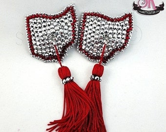 ON SALE RTW State of Ohio Rhinestone Nipple Pasties with Tassels - Size S - SugarKitty Couture