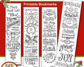 ON SALE... Christmas Color-Your-Own Bookmarks  Bible Journaling Tags Tracers INSTANT Download Scripture Digital Printable Christian Religiou