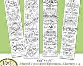 ON SALE... NEW! Eph 1-4 Color Your Own Bookmarks  Bible Journaling Illustrated Faith Instant Download Scripture Digital Printable Christian